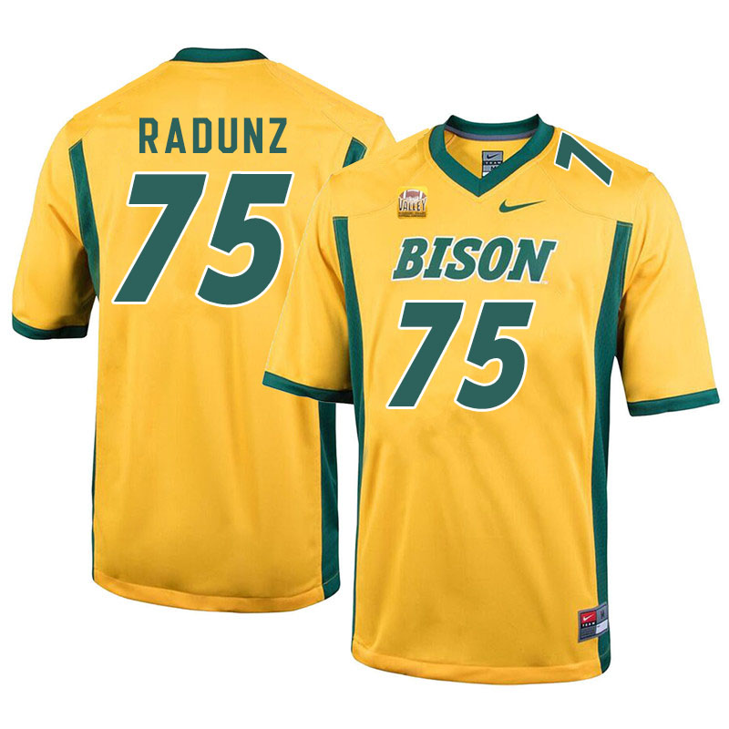 Men #75 Dillon Radunz North Dakota State Bison College Football Jerseys Sale-Yellow