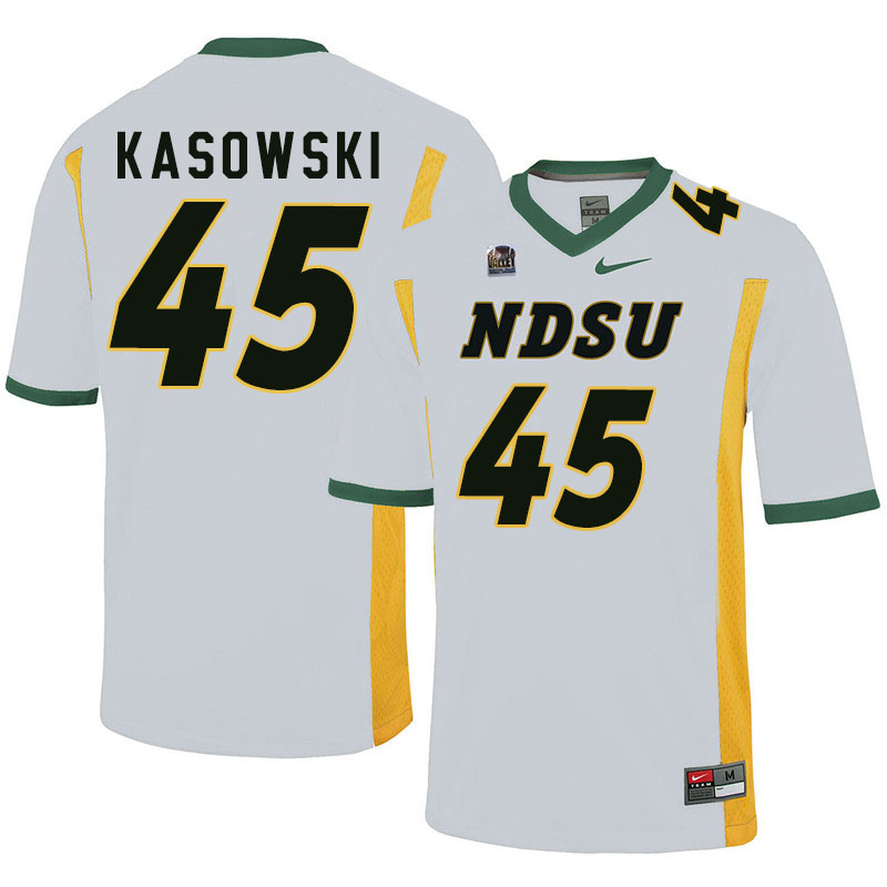 Men #45 Dustin Kasowski North Dakota State Bison College Football Jerseys Sale-White