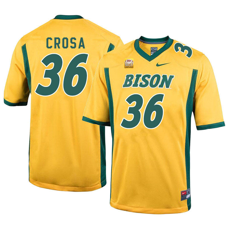 Men #36 Griffin Crosa North Dakota State Bison College Football Jerseys Sale-Yellow