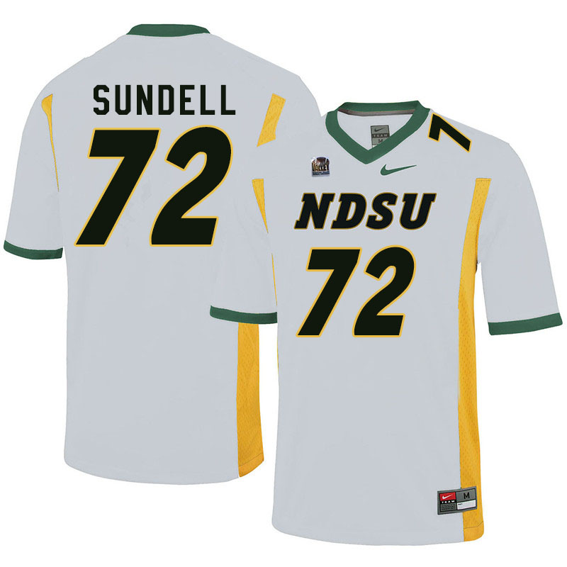 Men #72 Jalen Sundell North Dakota State Bison College Football Jerseys Sale-White
