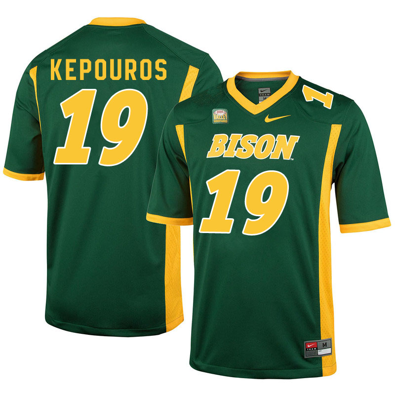 Men #19 Jimmy Kepouros North Dakota State Bison College Football Jerseys Sale-Green