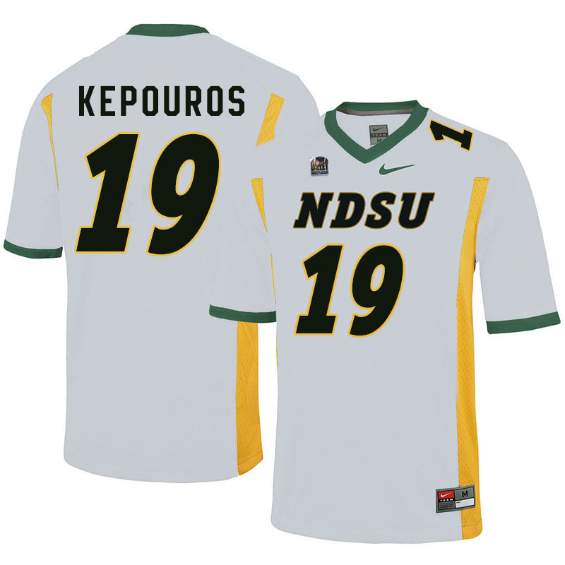Men #19 Jimmy Kepouros North Dakota State Bison College Football Jerseys Sale-White