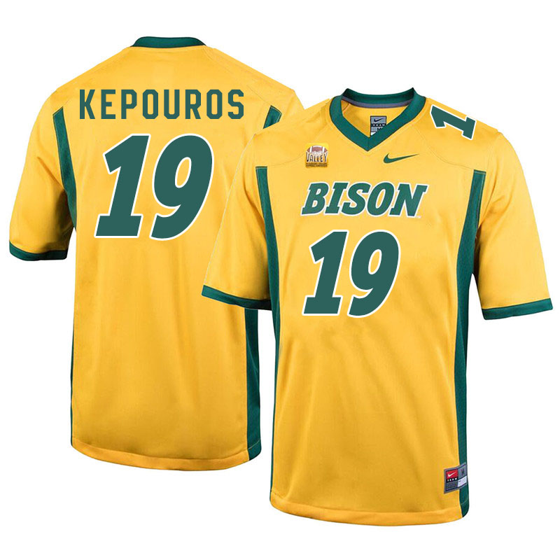 Men #19 Jimmy Kepouros North Dakota State Bison College Football Jerseys Sale-Yellow