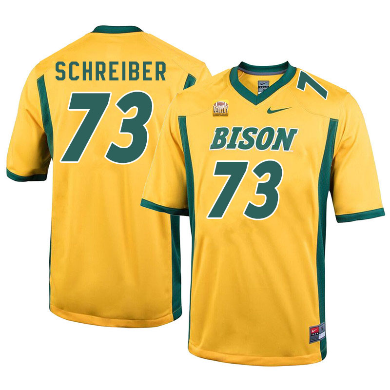 Men #73 Joe Schreiber North Dakota State Bison College Football Jerseys Sale-Yellow