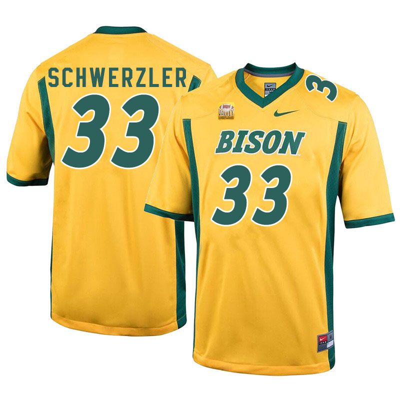 Men #33 Mason Schwerzler North Dakota State Bison College Football Jerseys Sale-Yellow