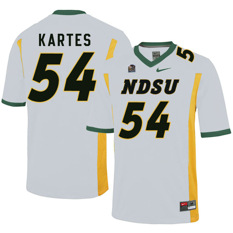 Men #54 Mitchell Kartes North Dakota State Bison College Football Jerseys Sale-White
