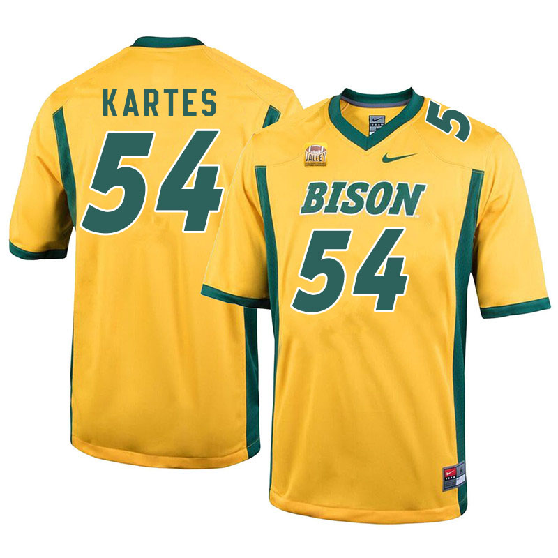 Men #54 Mitchell Kartes North Dakota State Bison College Football Jerseys Sale-Yellow