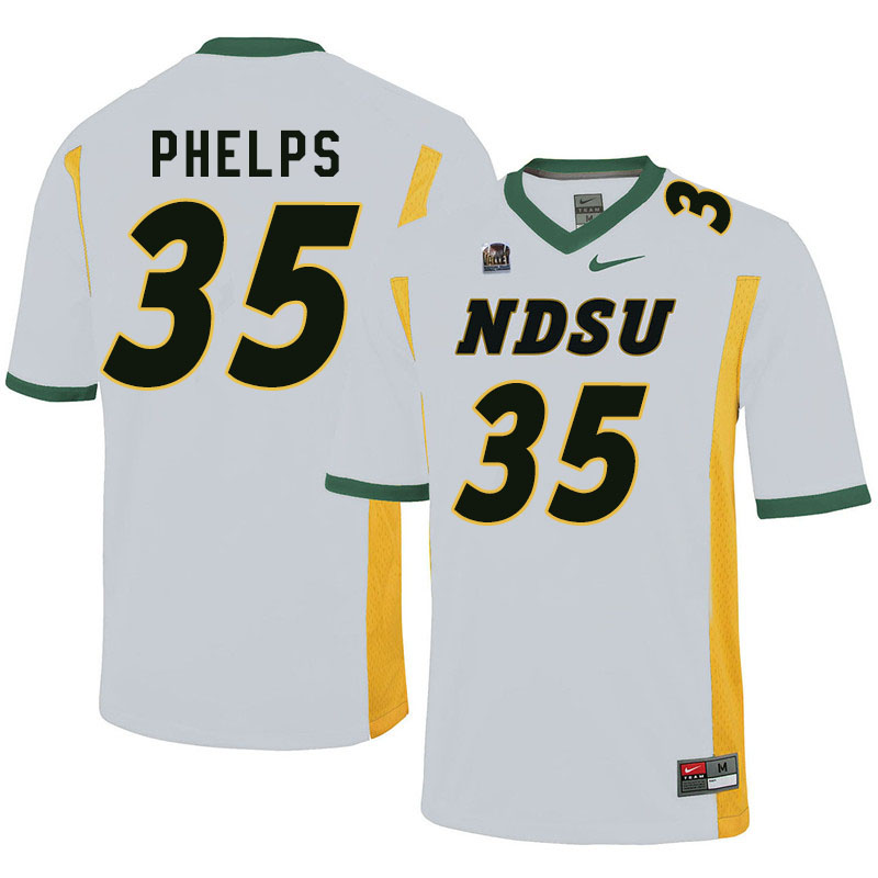Men #35 Nick Phelps North Dakota State Bison College Football Jerseys Sale-White