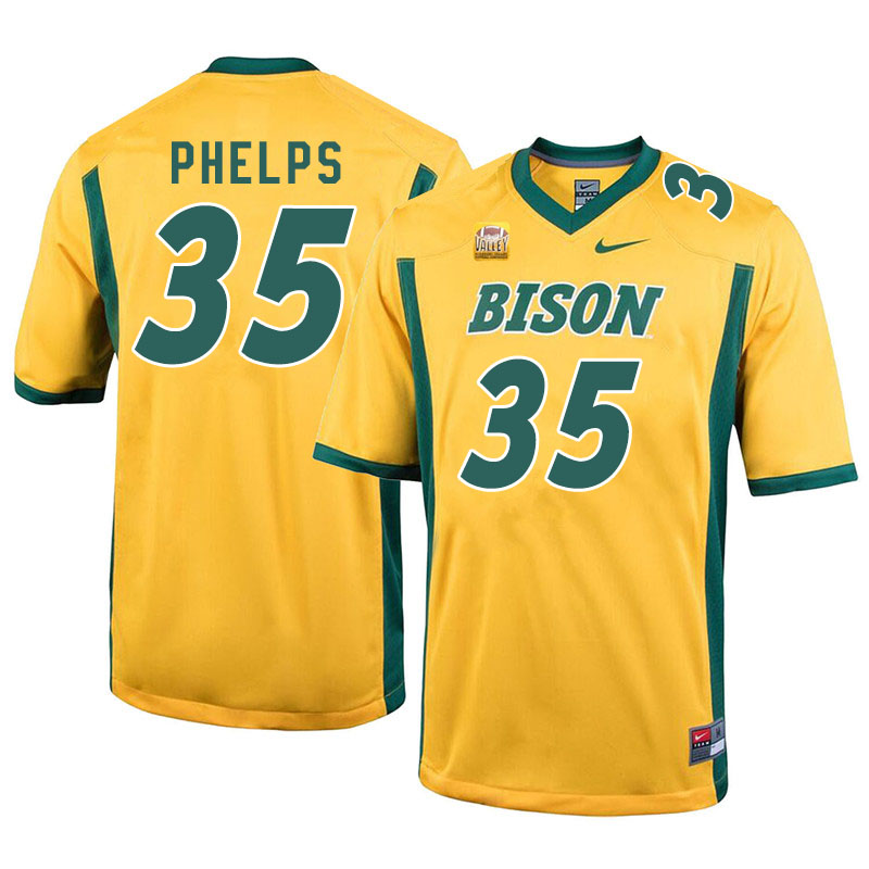 Men #35 Nick Phelps North Dakota State Bison College Football Jerseys Sale-Yellow