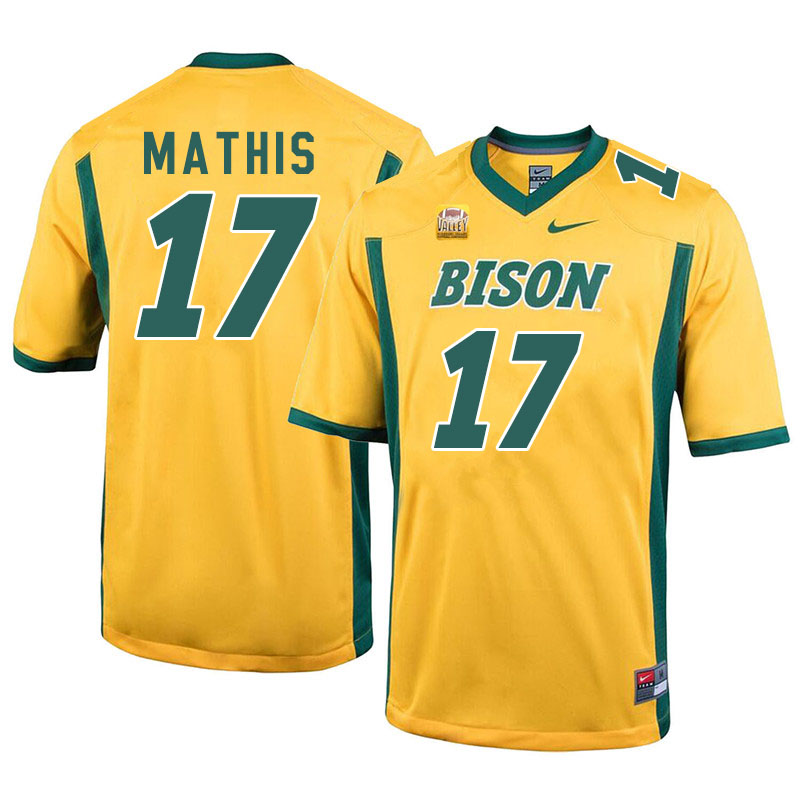 Men #17 Zach Mathis North Dakota State Bison College Football Jerseys Sale-Yellow