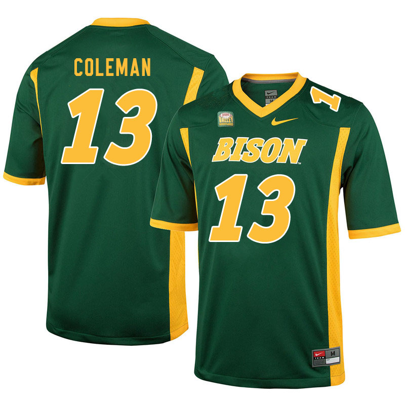 Men #13 Anthony Coleman North Dakota State Bison College Football Jerseys Sale-Green