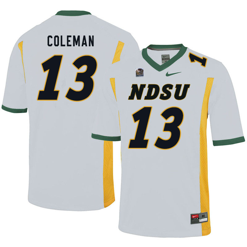 Men #13 Anthony Coleman North Dakota State Bison College Football Jerseys Sale-White
