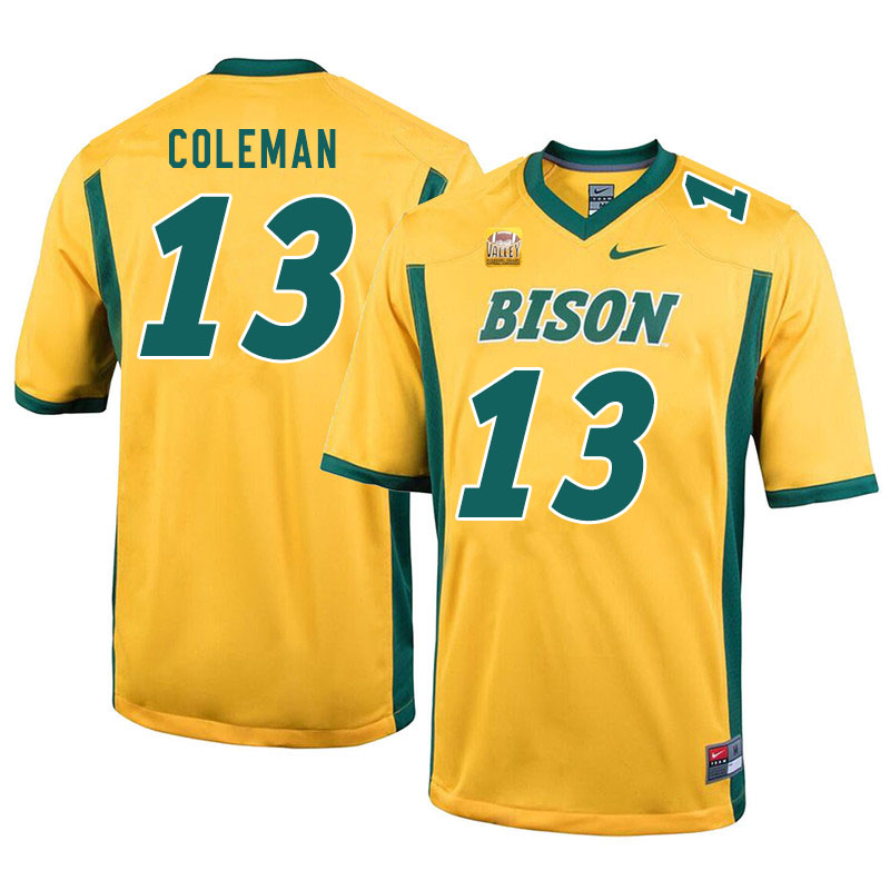 Men #13 Anthony Coleman North Dakota State Bison College Football Jerseys Sale-Yellow