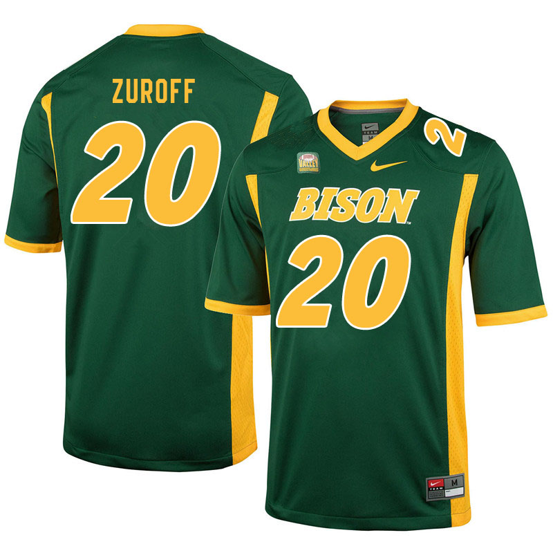 Men #20 Braden Zuroff North Dakota State Bison College Football Jerseys Sale-Green