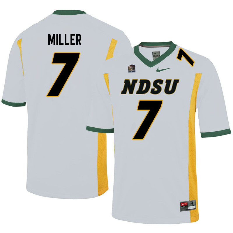 Men #7 Cam Miller North Dakota State Bison College Football Jerseys Sale-White