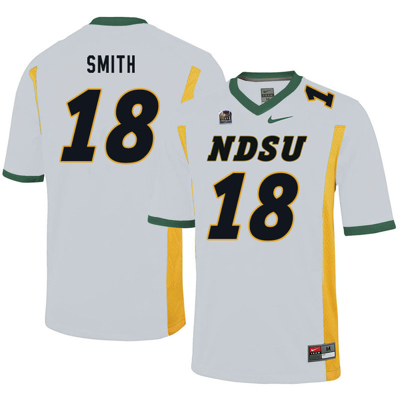Men #18 Cam Smith North Dakota State Bison College Football Jerseys Sale-White