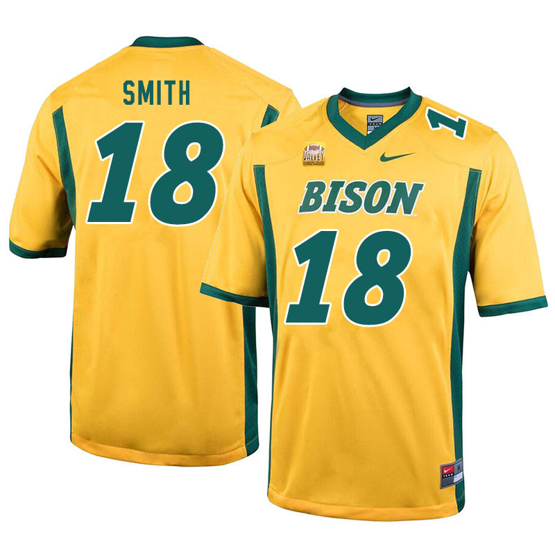 Men #18 Cam Smith North Dakota State Bison College Football Jerseys Sale-Yellow