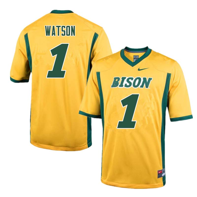 Men #1 Christian Watson North Dakota State Bison College Football Jerseys Sale-Yellow
