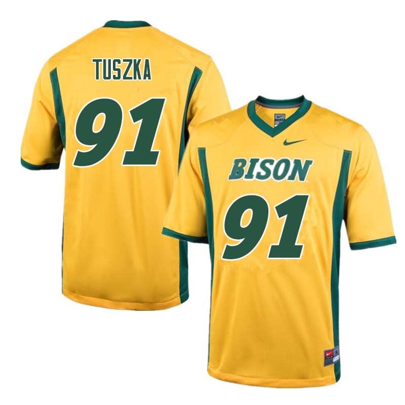 Men #91 Derrek Tuszka North Dakota State Bison College Football Jerseys Sale-Yellow