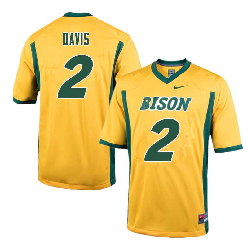 Men #2 Dom Davis North Dakota State Bison College Football Jerseys Sale-Yellow