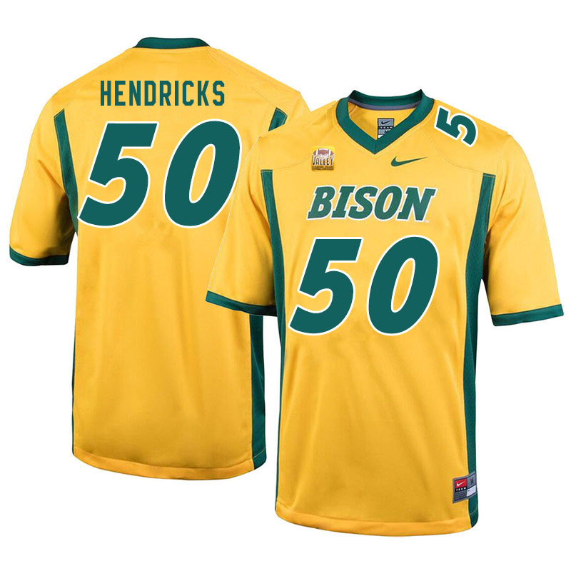 Men #50 Dylan Hendricks North Dakota State Bison College Football Jerseys Sale-Yellow