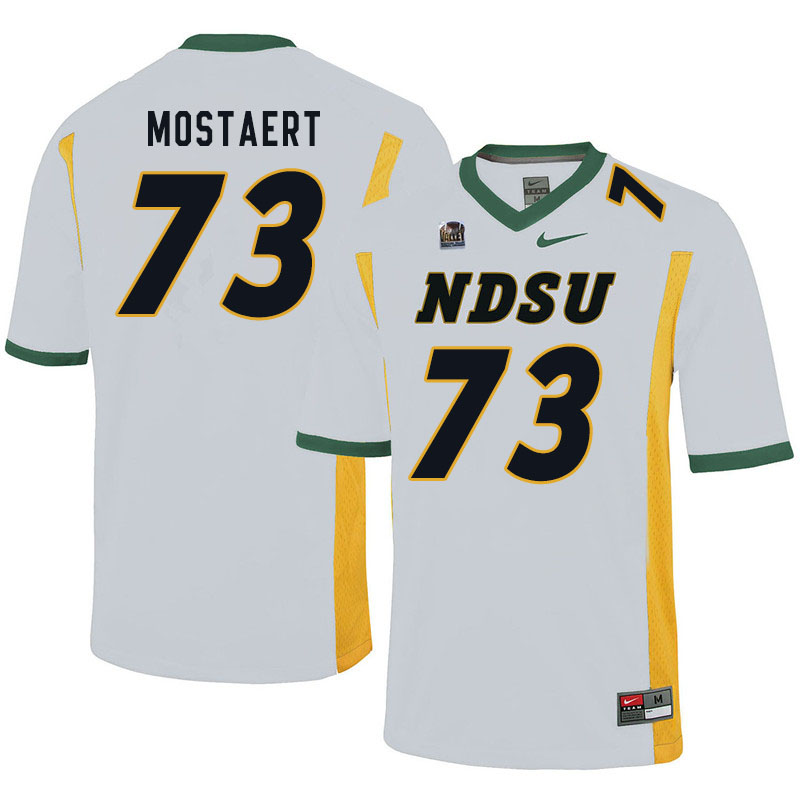 Men #73 Eli Mostaert North Dakota State Bison College Football Jerseys Sale-White