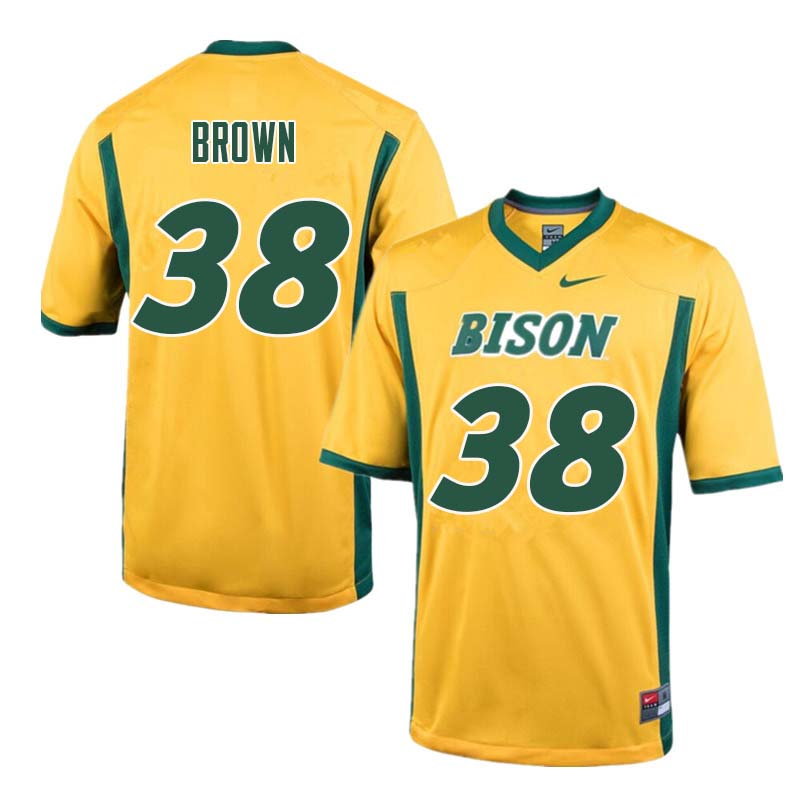 Men #38 Jaxon Brown North Dakota State Bison College Football Jerseys Sale-Yellow