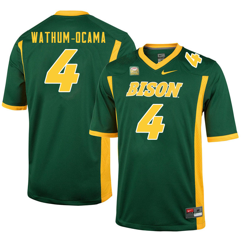 Men #4 Jenaro Wathum-Ocama North Dakota State Bison College Football Jerseys Sale-Green