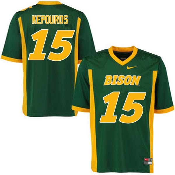 Men #15 Jimmy Kepouros North Dakota State Bison College Football Jerseys Sale-Green