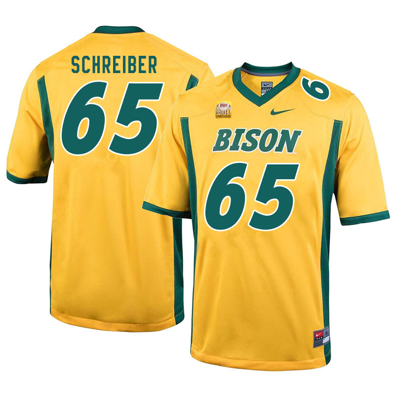 Men #65 Joe Schreiber North Dakota State Bison College Football Jerseys Sale-Yellow