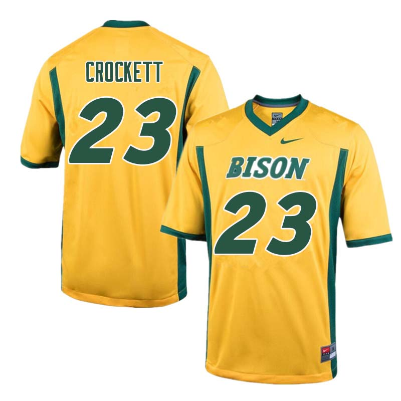 Men #23 John Crockett North Dakota State Bison College Football Jerseys Sale-Yellow