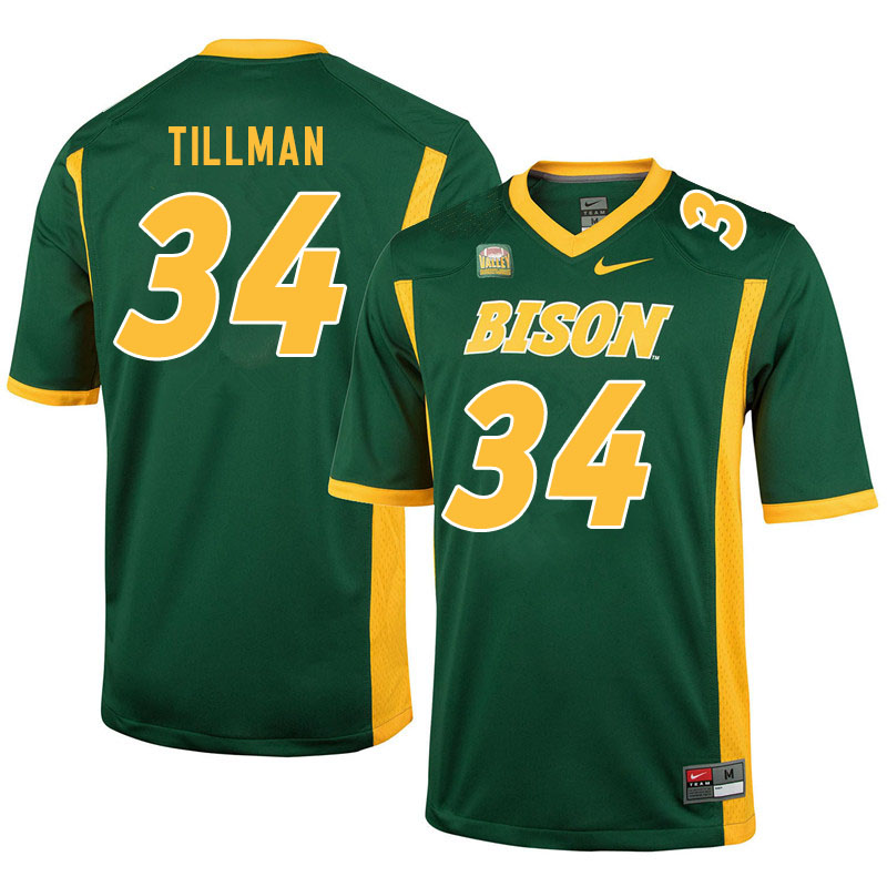 Men #34 Juanye Tillman North Dakota State Bison College Football Jerseys Sale-Green