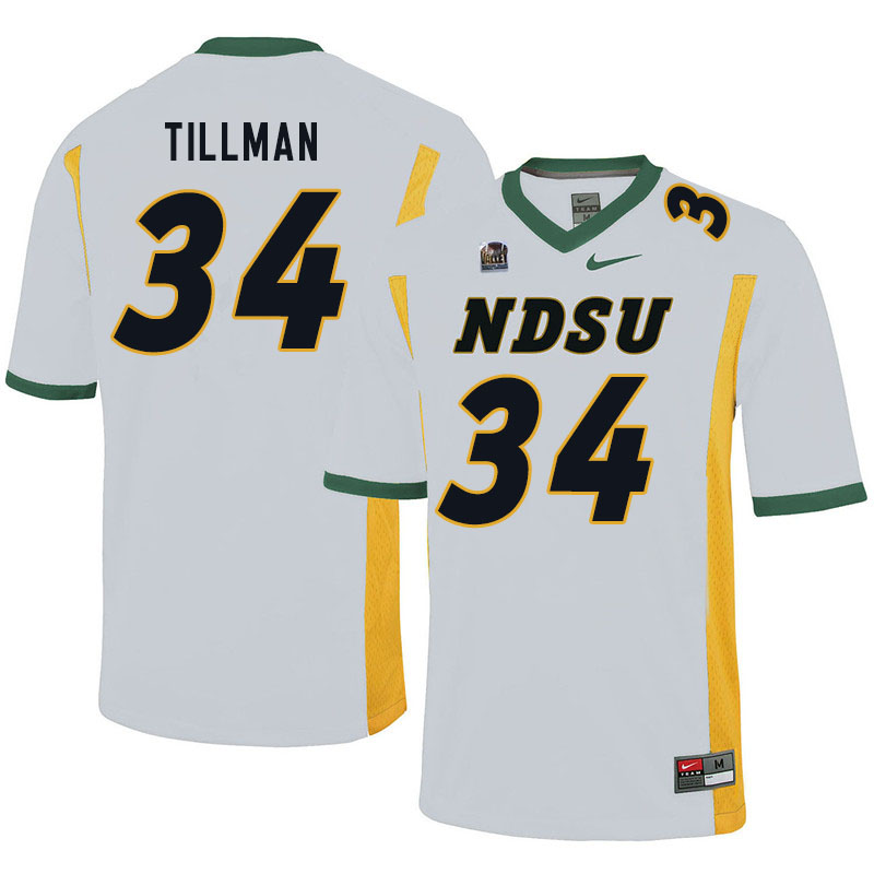 Men #34 Juanye Tillman North Dakota State Bison College Football Jerseys Sale-White