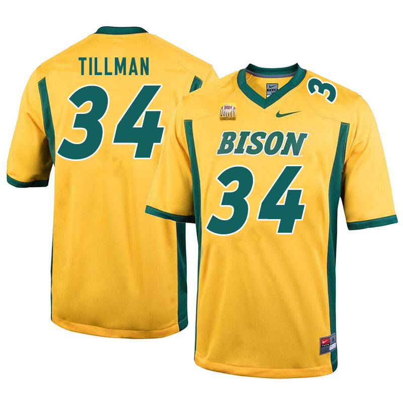 Men #34 Juanye Tillman North Dakota State Bison College Football Jerseys Sale-Yellow