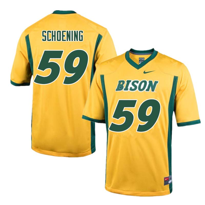 Men #59 Karson Schoening North Dakota State Bison College Football Jerseys Sale-Yellow