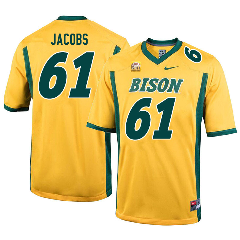 Men #61 Nolan Jacobs North Dakota State Bison College Football Jerseys Sale-Yellow