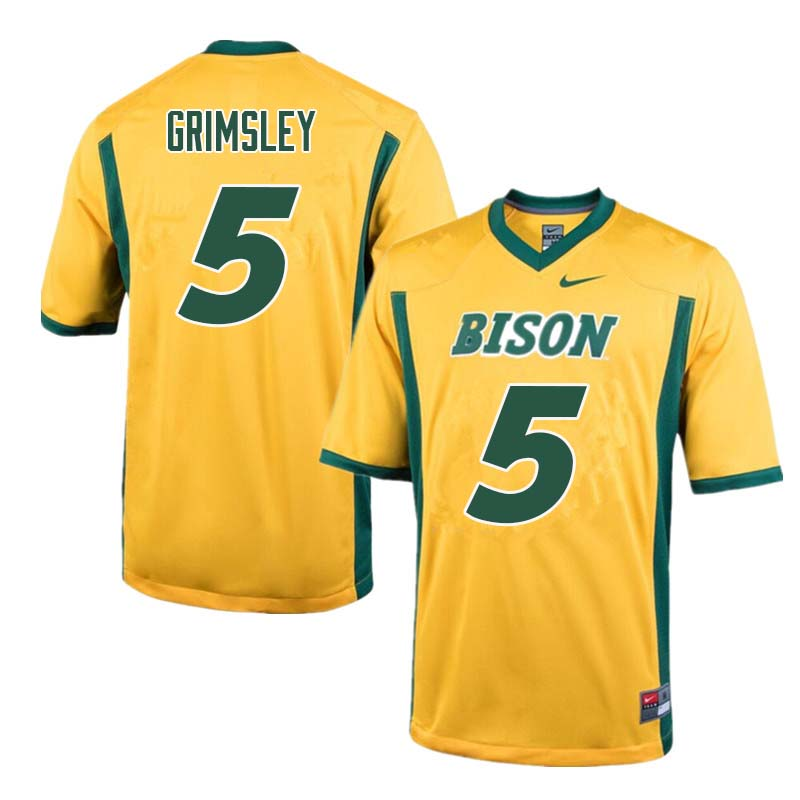 Men #5 Robbie Grimsley North Dakota State Bison College Football Jerseys Sale-Yellow