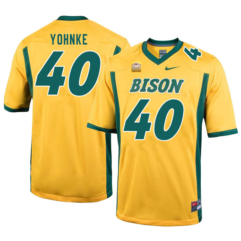 Men #40 Travis Yohnke North Dakota State Bison College Football Jerseys Sale-Yellow