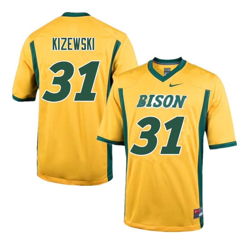 Men #31 Victor Kizewski North Dakota State Bison College Football Jerseys Sale-Yellow
