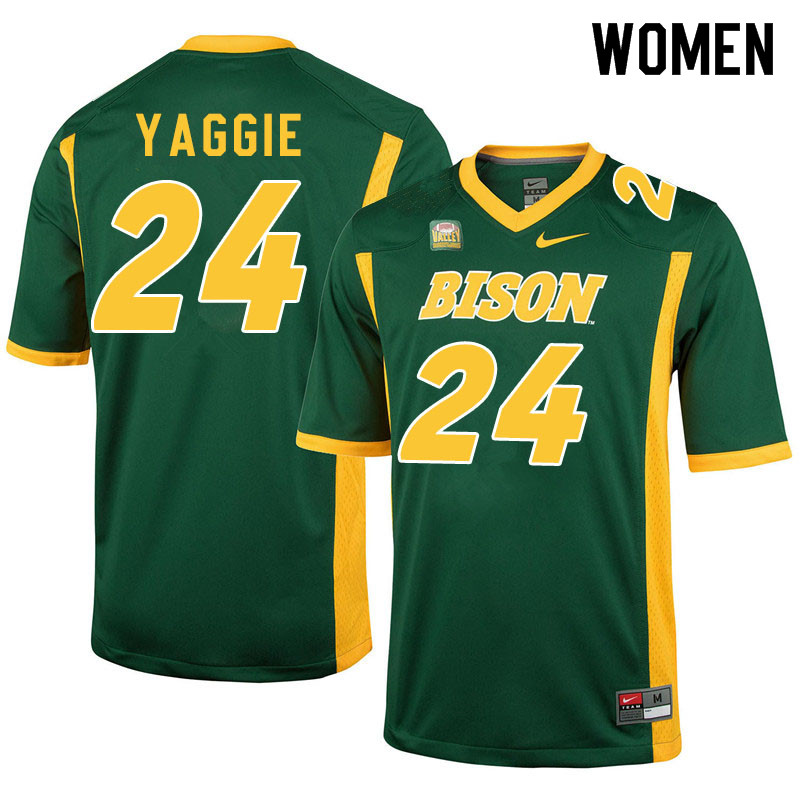 Women #24 Carson Yaggie North Dakota State Bison College Football Jerseys Sale-Green