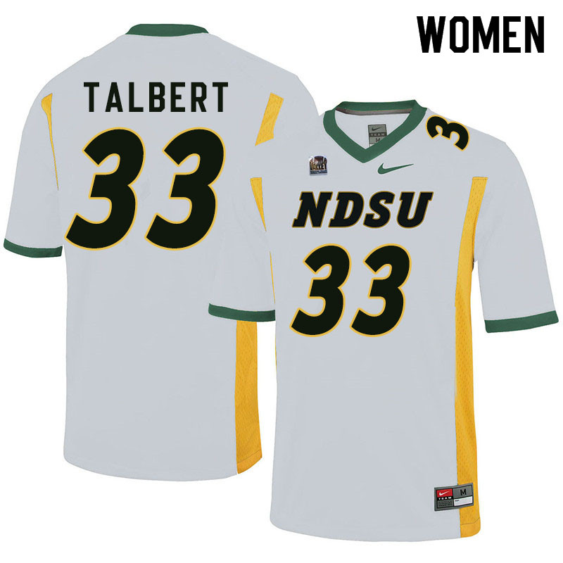 Women #33 Destin Talbert North Dakota State Bison College Football Jerseys Sale-White