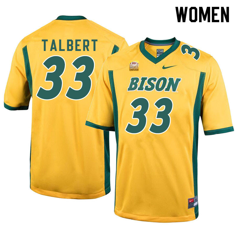 Women #33 Destin Talbert North Dakota State Bison College Football Jerseys Sale-Yellow