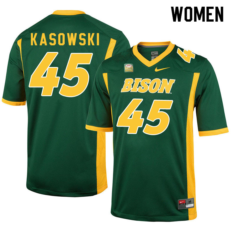 Women #45 Dustin Kasowski North Dakota State Bison College Football Jerseys Sale-Green