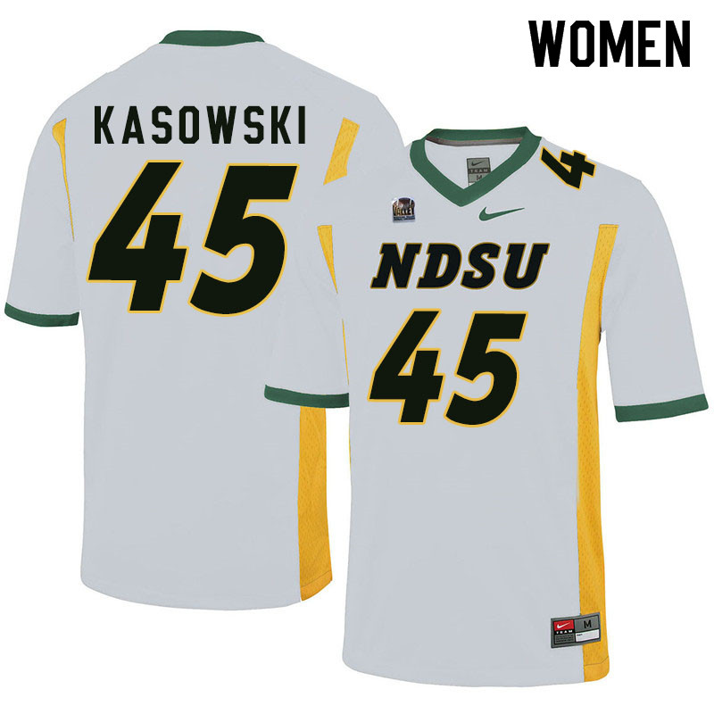 Women #45 Dustin Kasowski North Dakota State Bison College Football Jerseys Sale-White