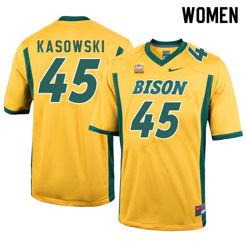 Women #45 Dustin Kasowski North Dakota State Bison College Football Jerseys Sale-Yellow