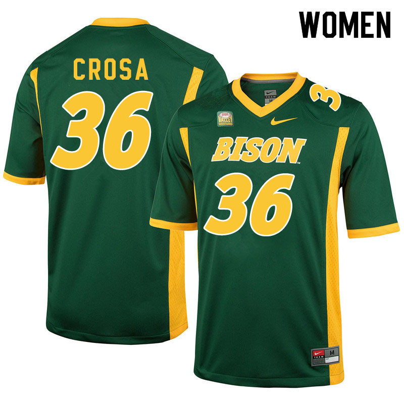 Women #36 Griffin Crosa North Dakota State Bison College Football Jerseys Sale-Green