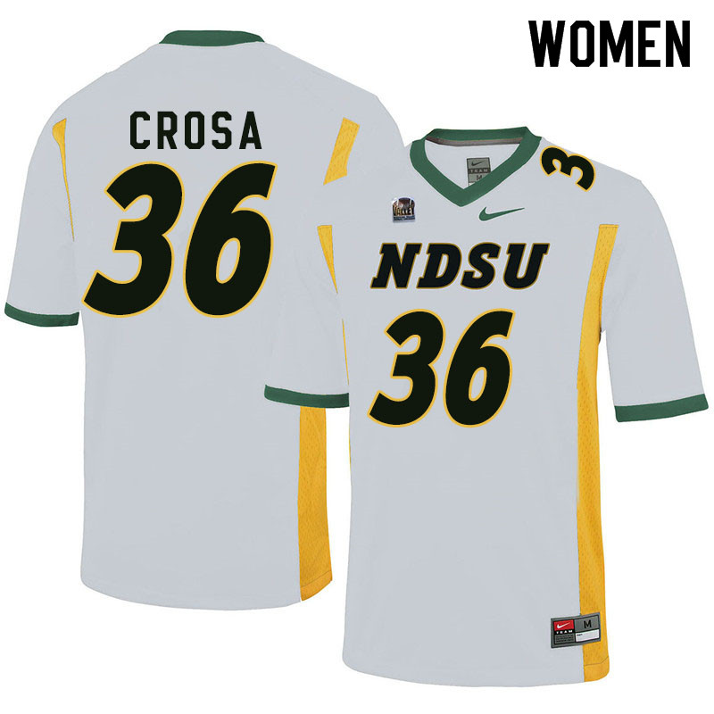 Women #36 Griffin Crosa North Dakota State Bison College Football Jerseys Sale-White