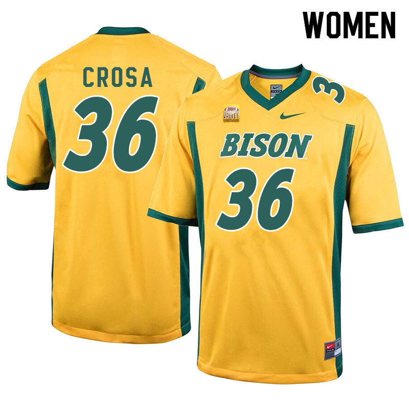 Women #36 Griffin Crosa North Dakota State Bison College Football Jerseys Sale-Yellow