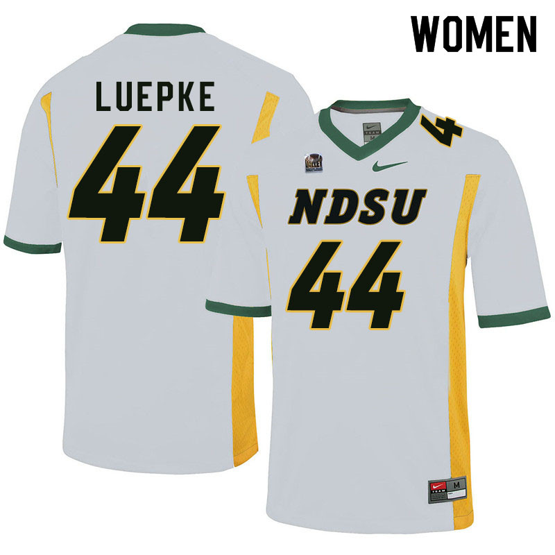 Women #44 Hunter Luepke North Dakota State Bison College Football Jerseys Sale-White