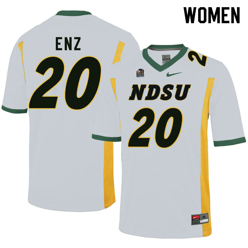 Women #20 Jackson Enz North Dakota State Bison College Football Jerseys Sale-White